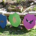 Kinder-Ritterschilder, Wildsau-Grüffalo-Adler aus Eiche-Sperrholzresten
